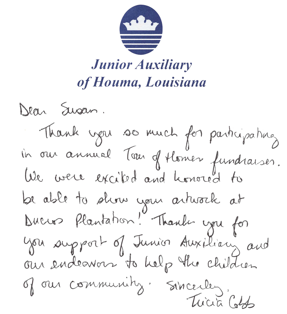 Letter of thanks from the Houma Jr's Women league for the artist's donation of art prints to their fund raising function.